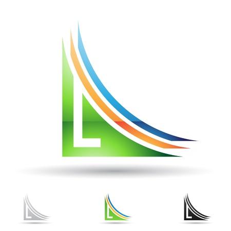 文字 L に基づく抽象的なアイコンの図