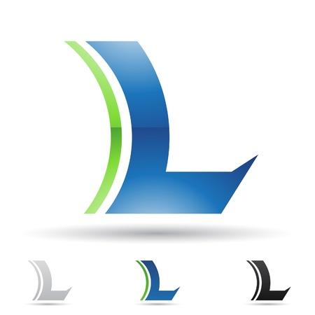 letras negras: ilustraci�n de los iconos abstractos sobre la base de la letra L