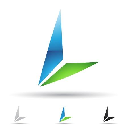 illustratie van abstracte pictogrammen op basis van de letter L