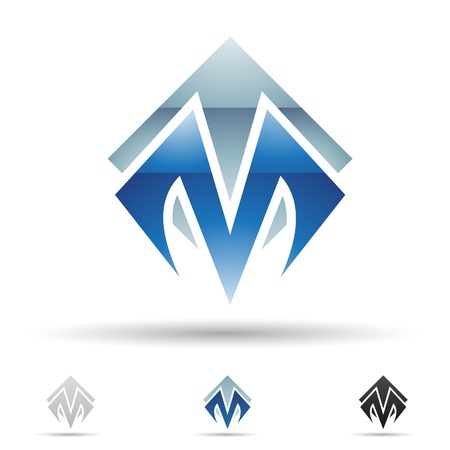 company logo:  illustration of abstract icons based on the letter M Illustration