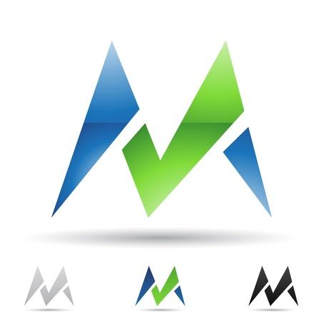 illustratie van abstracte iconen gebaseerd op de letter M