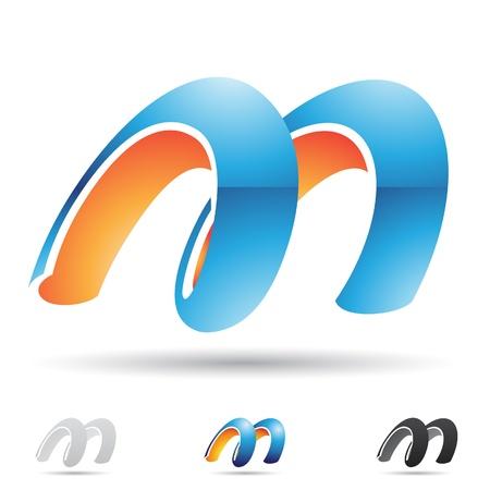 手紙 M に基づく抽象的なアイコンの図