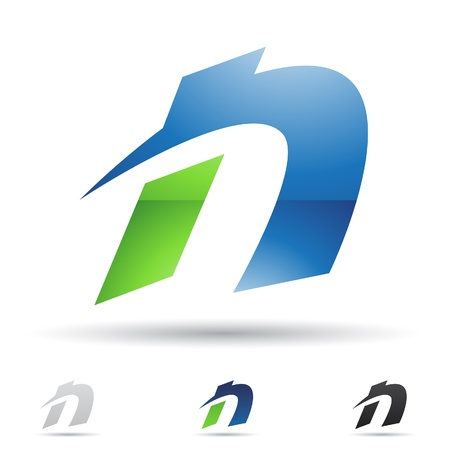 letter n:  illustration of abstract icons based on the letter N