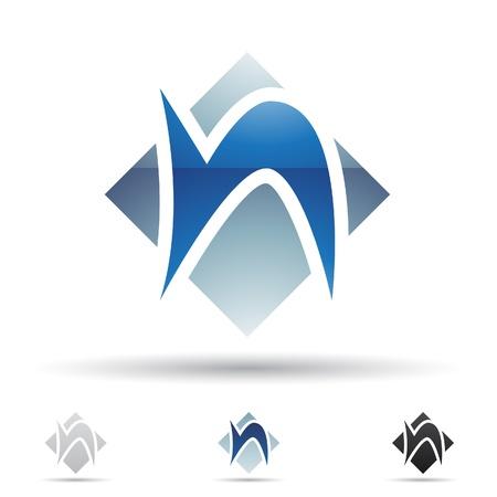 illustratie van abstracte pictogrammen van de letter N Stock Illustratie