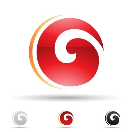 spiral: illustratie van abstracte iconen gebaseerd op de letter O