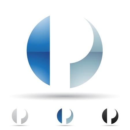 curves: ilustraci�n de los iconos abstractos sobre la base de la letra P