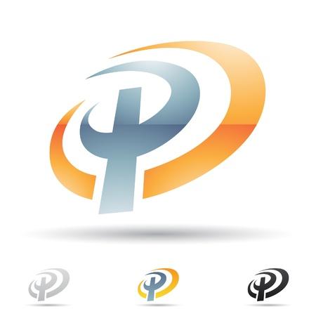 文字 P に基づく抽象的なアイコンの図