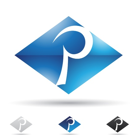 illustration of abstract icons based on the letter P Vector
