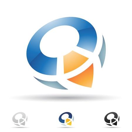 手紙 Q に基づく抽象的なアイコンの図
