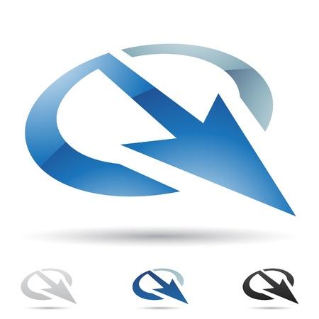 q: illustrazione delle icone astratte in base alla lettera Q