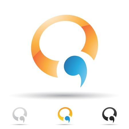 q: illustrazione di icone astratte in base alla lettera Q