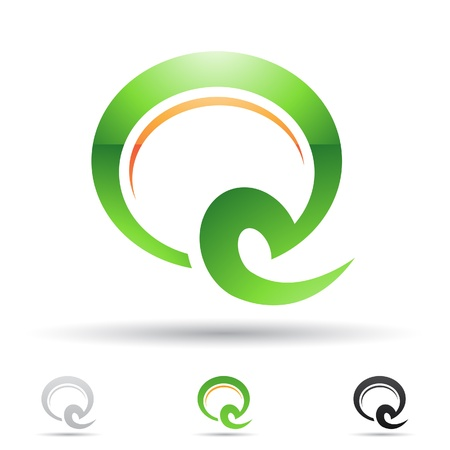 illustration of abstract icons based on the letter Q Vector