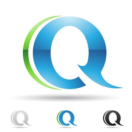letras negras: ilustraci�n de los iconos abstractos sobre la base de la letra Q