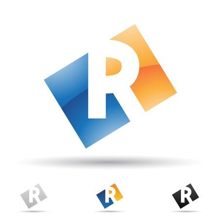 手紙 R に基づく抽象的なアイコンの図