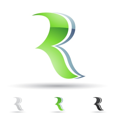 letter r: illustration of abstract icons based on the letter R