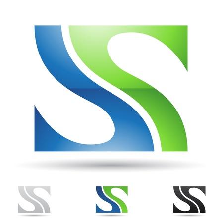 letras negras: ilustraci�n de los iconos abstractos sobre la base de la letra S