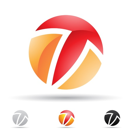 illustratie van abstracte iconen gebaseerd op de letter T