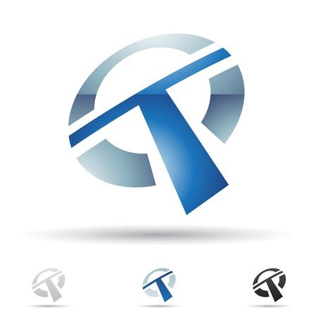 手紙 T に基づく抽象的なアイコンの図  イラスト・ベクター素材