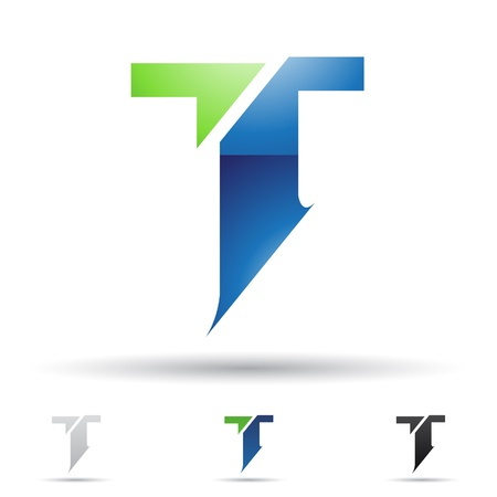 letter t:  illustration of abstract icons based on the letter T