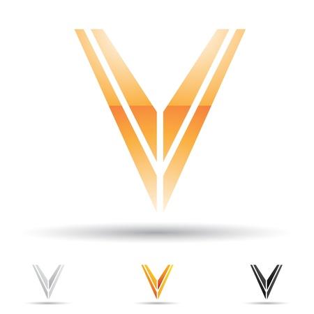 letras negras: ilustración de los iconos abstractos basados ??en la letra V