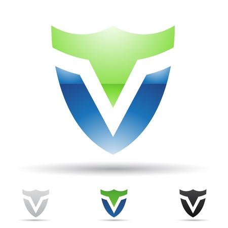 ESCUDO: ilustración de los iconos abstractos sobre la base de la letra V
