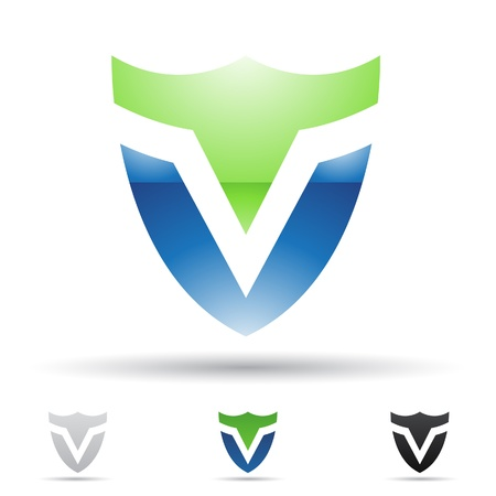 V の文字に基づいて抽象的なアイコンの図