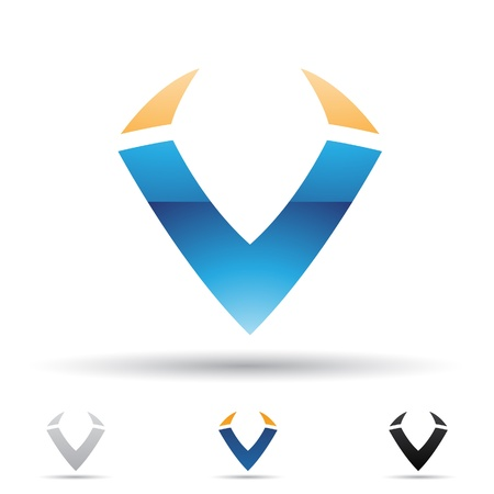 illustration of abstract icons based on the letter V Vector