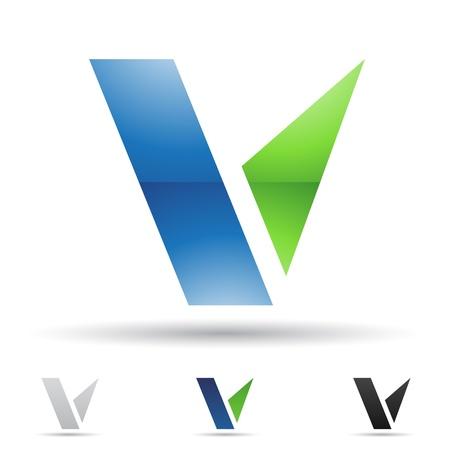 letras negras: ilustraci�n de los iconos abstractos sobre la base de la letra V