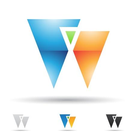 삼각형: 문자 W에 따라 추상 아이콘의 그림