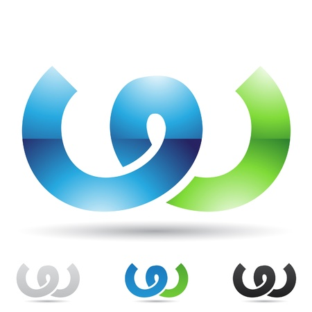 aqua icon:  illustration of abstract icons based on the letter W