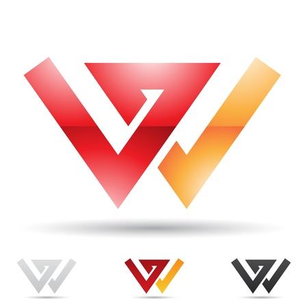 letras negras: ilustraci�n de los iconos abstractos sobre la base de la letra W