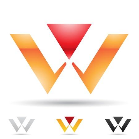 ilustración de los iconos abstractos sobre la base de la letra W