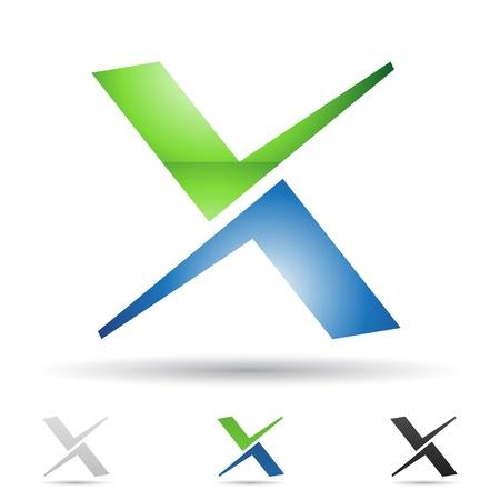 手紙 X に基づく抽象的なアイコンの図