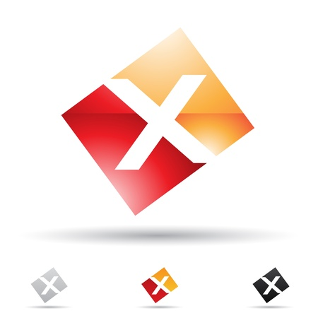 red x:  illustration of abstract icons based on the letter X