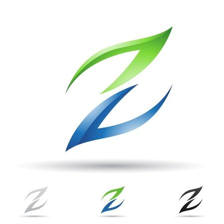 letras negras: ilustraci�n de los iconos abstractos sobre la base de la letra Z