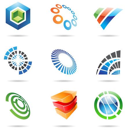 Diverse kleurrijke abstracte pictogrammen geà ¯ soleerd op een witte achtergrond