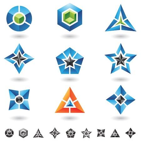 kubussen, sterren, piramides en veel 3d geometrische vormen Stock Illustratie