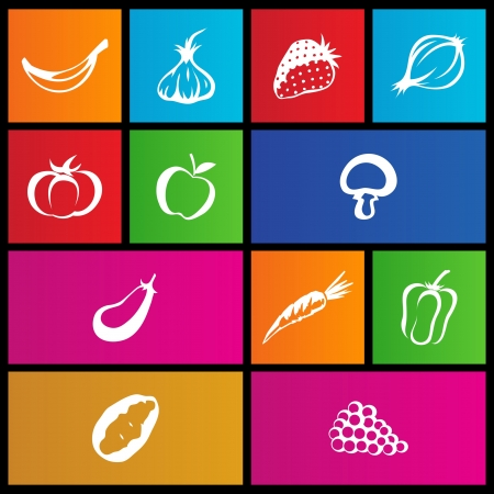 illustration of metro style fruit and vegetable icons Vector