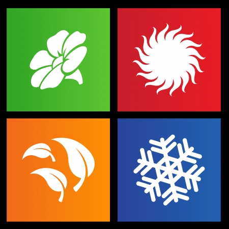 illustration of metro style four seasons icons Vector