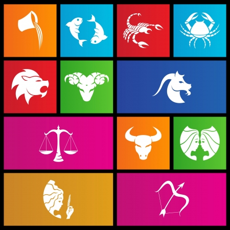 signs zodiac: illustration of metro style zodiac star signs