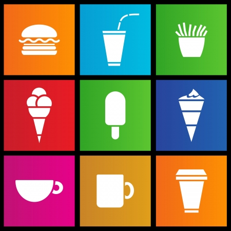 metro style Ice Cream, coffee and Fast Food Illustration