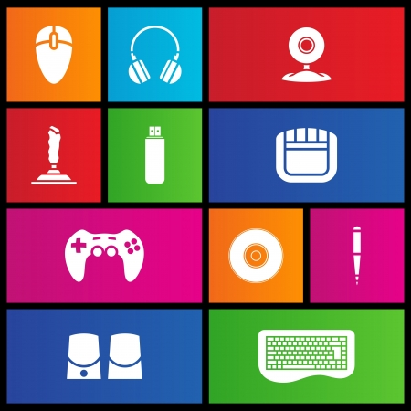 Various metro style icons of PC accessories  Vector
