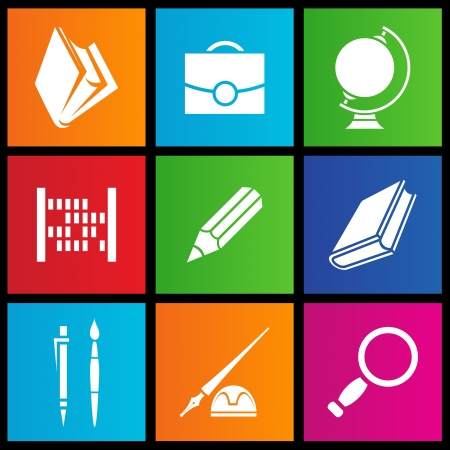 illustration of metro style school objects Vector