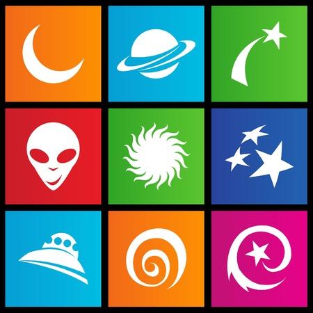 illustration des icônes de style métro espace