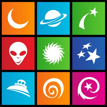 illustration of metro style space icons Stock Vector - 14993105