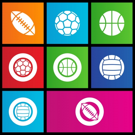 illustration of metro style sports balls icons Stock Vector - 14993114