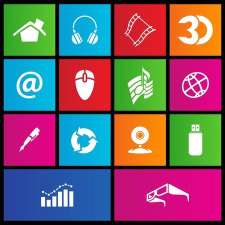illustration of metro style web icons