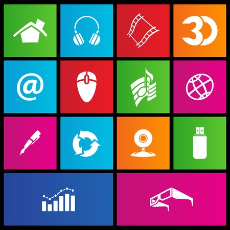 hard drive: illustration of metro style web icons