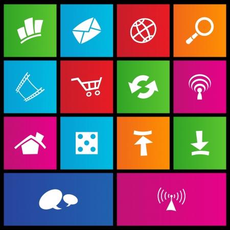 illustratie van metro-stijl web icons Stock Illustratie