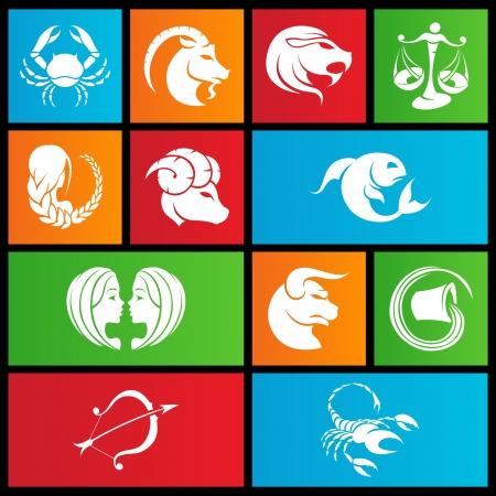 illustratie van metro stijl dierenriem sterrenbeelden Stock Illustratie